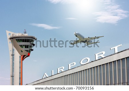 airport and the big plane in blue sky