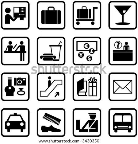 Airport and Travel Icons and Symbols - stock photo