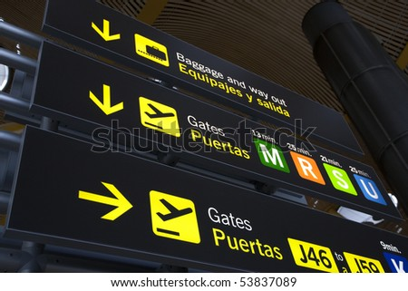 Airport Baggage and Gate Sign at Barajas Airport in Madrid