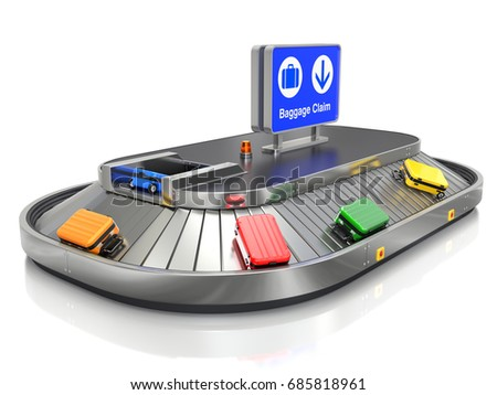 Airport baggage claim transporter with colorful cases - 3d illustration