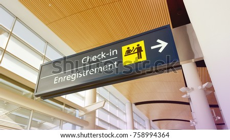 Airport Check in sign #758994364