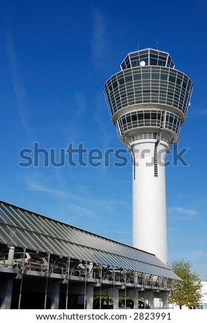 airport control tower and parking garage in Munich, Germany