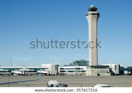 Airport control tower with clear skys