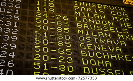 Airport departure display with zoom blur effect - stock photo