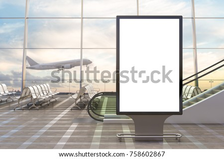 Airport departure lounge. Blank billboard stand and airplane on background. 3d illustration
