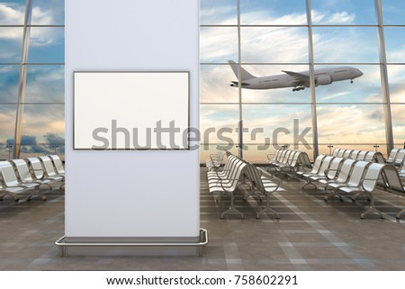 Airport departure lounge. Blank horizontal poster and airplane on background. 3d illustration