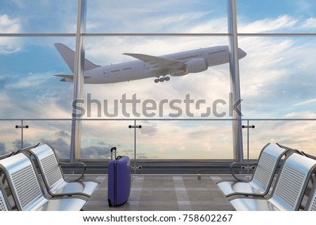 Airport departure lounge. Luggage suitcase and airplane on background. 3d illustration