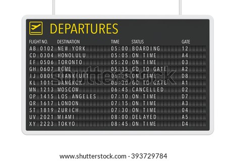 Airport Departures Table on a white background