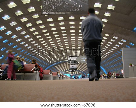 Airport hall of Charles de Gaulle International Airport, Paris. This hall collapsed in 2004