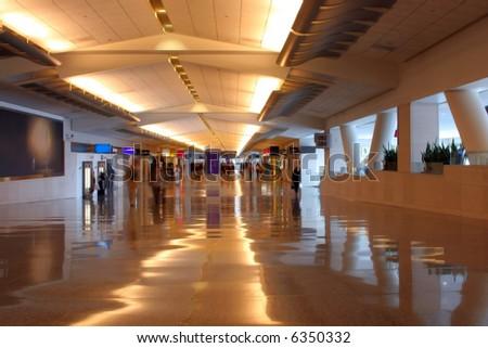 Airport Hallway Interior Night Scene