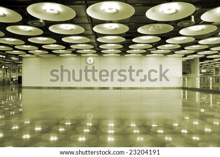 airport interior and lights in Madrid, Spain - stock photo
