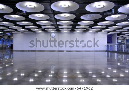 airport interior and lights, madrid, spain