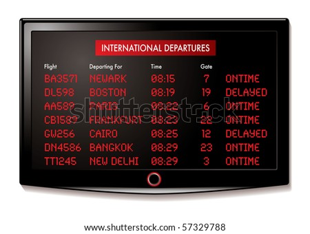 airport lcd display for departure times and destinations