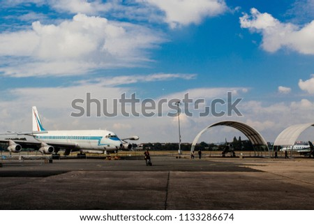 Airport Le Bourget, France - October 8, 2016  : The double-deck Boeing 747, the world's second largest passenger commercial airplane at the airport Le Bourget, Paris, France. #1133286674
