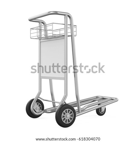 Airport Luggage Cart Isolated. 3D rendering