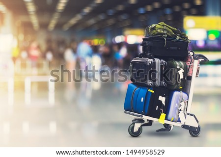 Airport luggage Trolley with suitcases
