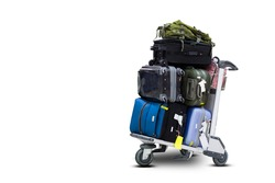 Airport luggage Trolley with suitcases on white background with clipping path