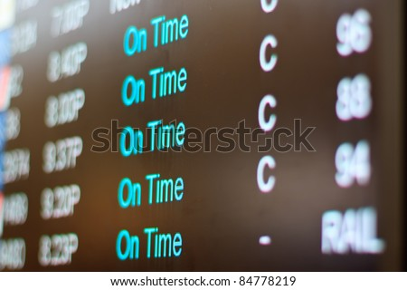 airport monitor with different air traffic words signalling the state of a certain flight.