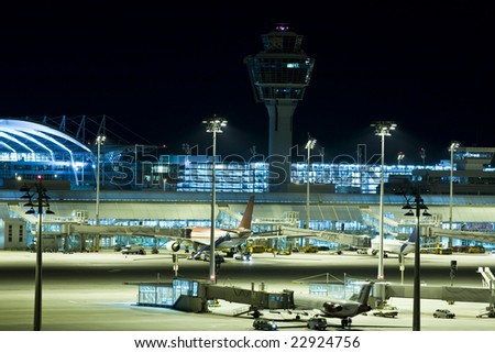 airport night jet plane transport airline city