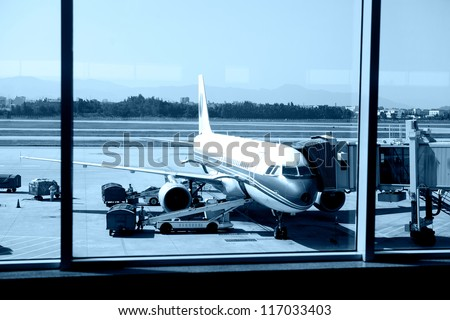 airport outside the window ,waiting for the flight