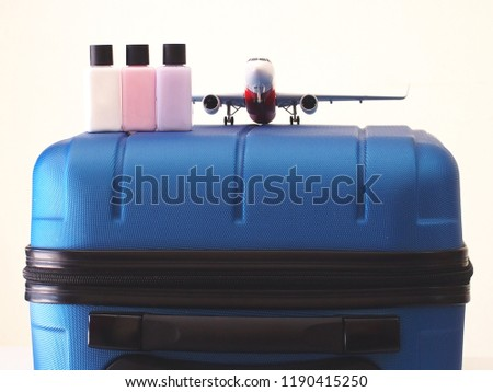 Airport rules instruction before boarding the aircraft. Liquid with carry-on baggage concept.