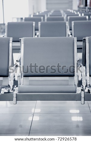 airport seats row, black and white toning