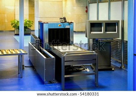 Airport security check with metal detector X ray