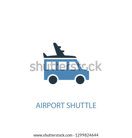 airport shuttle concept 2 colored icon. Simple blue element illustration. airport shuttle concept symbol design from Hotel set. Can be used for web and mobile UI/UX