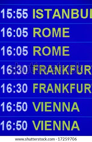 Airport sign - Flight Information departure board