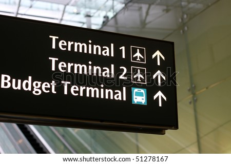 Airport sign for terminal directions