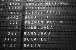 Airport sign of flights destinations and departure times