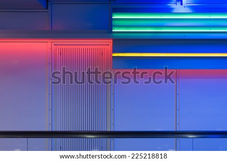 Airport speedwalk with colored lights #225218818