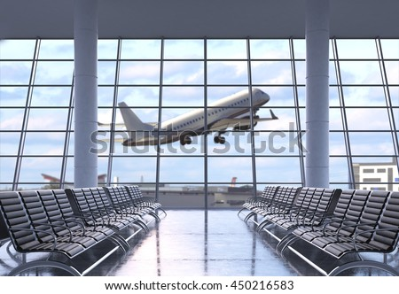 Airport terminal interior with rows of empty seats, city view and a flying by airplane. 3D Rendering