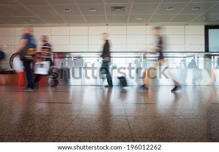 Airport Train Tube station Blur people movement in rush hour
