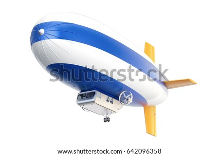 Airship or dirigible balloon, 3D rendering