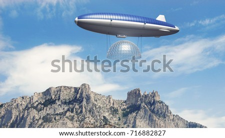 Airship with building element flying over mountains. Dirigible covered with solar panels. The concept of delivery of goods to remote places. 3d rendering image