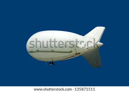 Airship with camera opposite blue sky