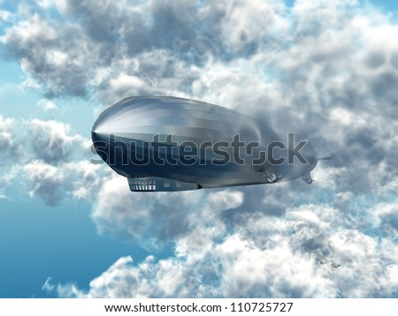 Airship with Clouds Computer generated 3D illustration