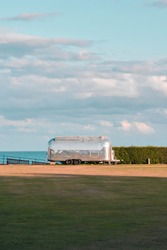 Airstream Trailer catering unit on Western Lawn at sunset in Eastbourne