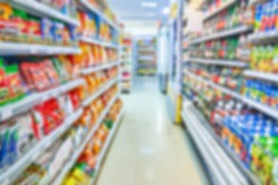 Aisle shop background in soft focus