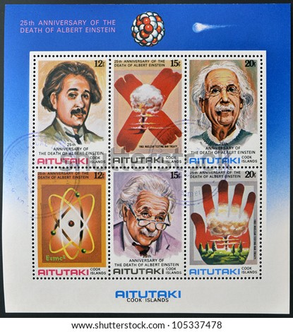 AITUTAKI (ARAURA), CIRCA 1980: Collection stamps printed in Cook Islands in honor of Mathematician Physicist Nobel Prize Winner Albert Einstein, circa 1980