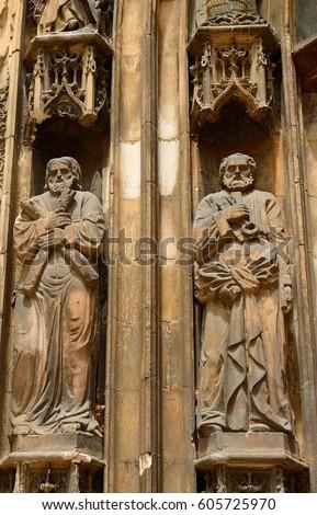 AIX-EN-PROVENCE, FRANCE - JUNE 21 : Cathedral St. Sauveur on 21 June 2016 at Aix-en-Provence, France. Cathedral St. Sauveur is the main cathedral in Aix-en-Provence. #605725970