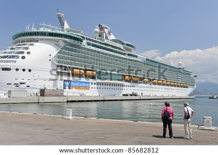 AJACCIO, FRANCE -  MAY 22: Independence of the Seas cruise ship docked at Ajaccio harbor, Corsica, France on May 22, 2011. The vessel is operated by the Royal Caribbean cruise line.