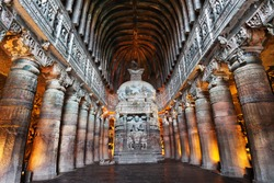 Ajanta Cave with Buddha statue inside in Maharashtra, India