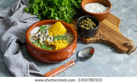 Ajiaco Colombiano.   patato soup common in Colombia, Cuba and Peru. Latin America