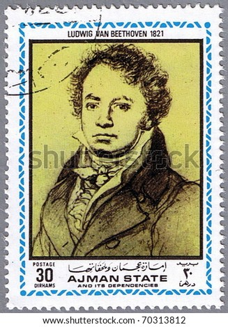 AJMAN - CIRCA 1972: A stamp printed in Ajman shows a portrait of Ludwig van Beethoven, series, circa 1972