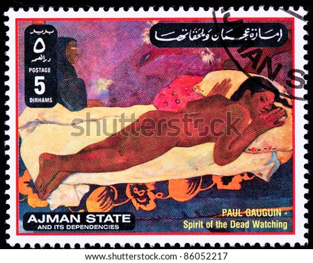 AJMAN - CIRCA 1971: A stamp printed in Ajman shows Spirit of the Dead Watching by Paul Gauguin, circa 1971. #86052217