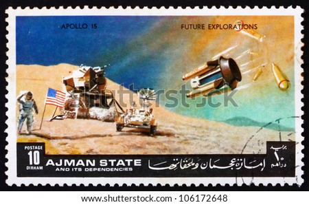 AJMAN - CIRCA 1972: a stamp printed in the Ajman shows Moon-landing, Apollo 15, Mission to the Moon, circa 1972