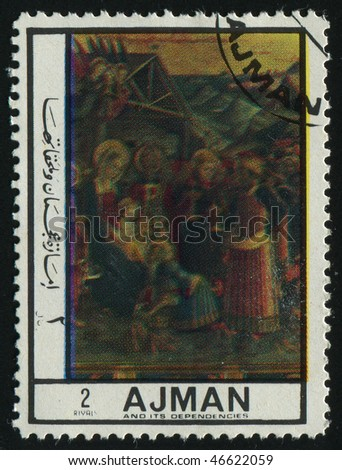 AJMAN - CIRCA 1972: birth of Jesus Christ, circa 1972