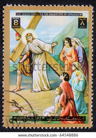 AJMAN - CIRCA 1980: Stamp printed in Ajman shows 8th Stations of the Cross, circa 1980